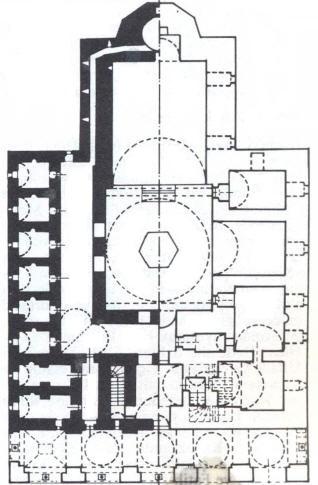 Hüdavendigar Camisi Planı solda üst kat medrese, sağda alt kat cami
