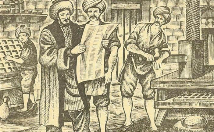 İbrahim Müteferrika matbaasında bastığı kitabın provalarını gözden geçirirken