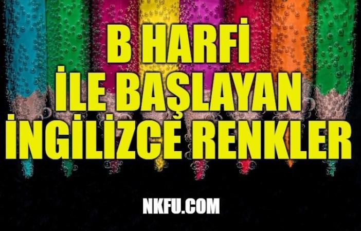B Harfi İle Başlayan İngilizce Renkler
