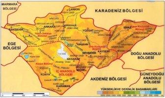 İç Anadolu Bölgesi Yer Şekilleri Haritası