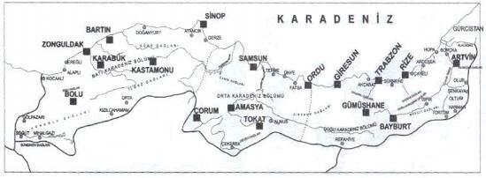 Karadeniz Bölgesi Harita