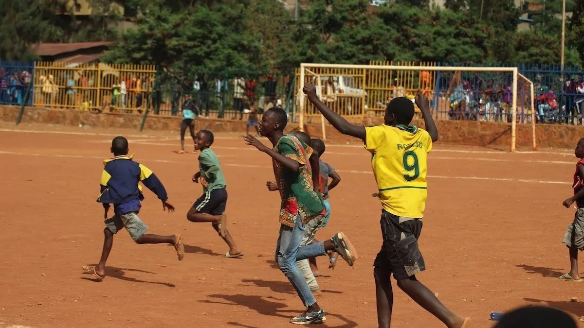 People playing football in Rwanda