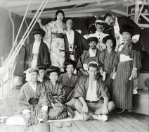 Anonymous photographer, East Indies (Indonesia). Dutch men and local women, dressed up as Japanese on board of a Dutch merchant schip. Colonial period, early 20th century.