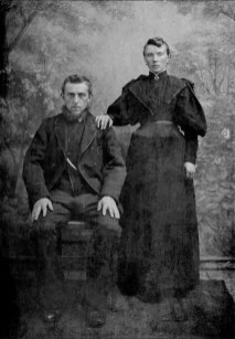 Portrait by photographer A. Hazekamp of an unknown couple. Village Oostwold, province Groningen, the Netherlands, late 19th century