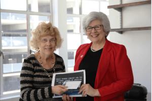 Elaine Erickson accepting 2016 Natl Music award from Laura Walth