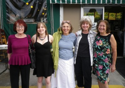 Left to right: Marie Kriss; Jessica French, Joice Fairchild's grand- daughter; Ruthy Wexler; Diane Dunne; and Joice Fairchild meeting before the International Baccalaureate World Conference at Denver University.