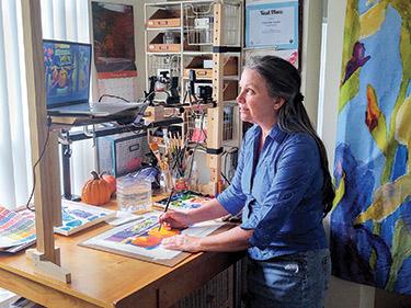 Christine Landis teaches an art class via Zoom