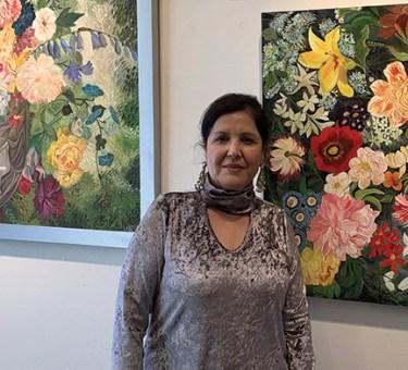 Artist at exhibit