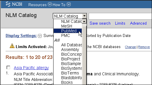 Screen capture of citationcontext menu.
