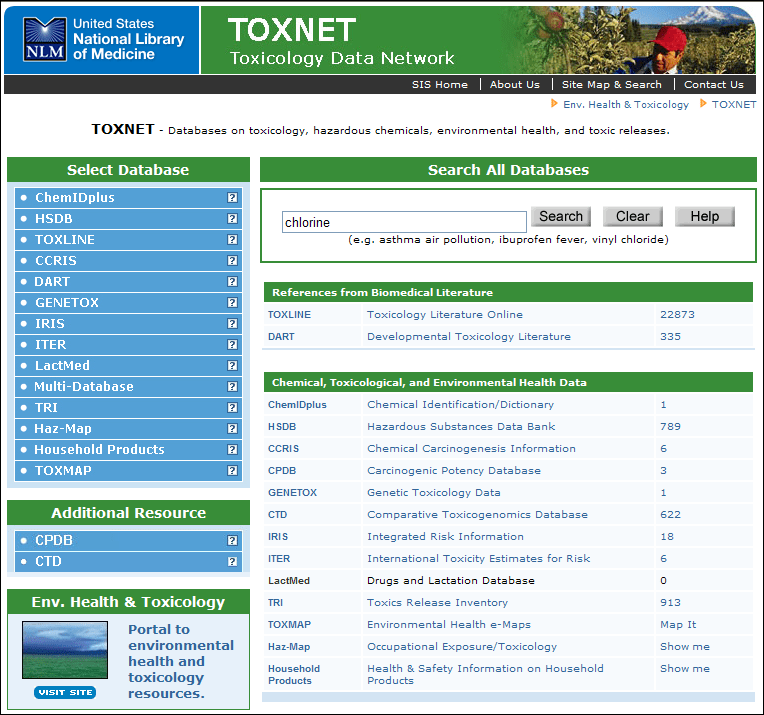 Screen capture of TOXNET Search Results Page.