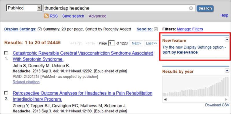 Screen capture of PubMed Summary results with Sort by Relevance feature discovery tool.