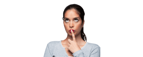 woman wondering and holding finger up to lips