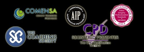 logos of nlp accreditations on black background