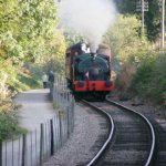 Peckett 2104 heading north towards Pitsford & Brampton Station at the Northampton & Lamport Railway. Photo N&LR Collection