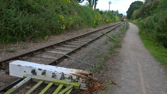 Vandalised gates and fencing at Pitsford Sidings. Photo: J. Coulson