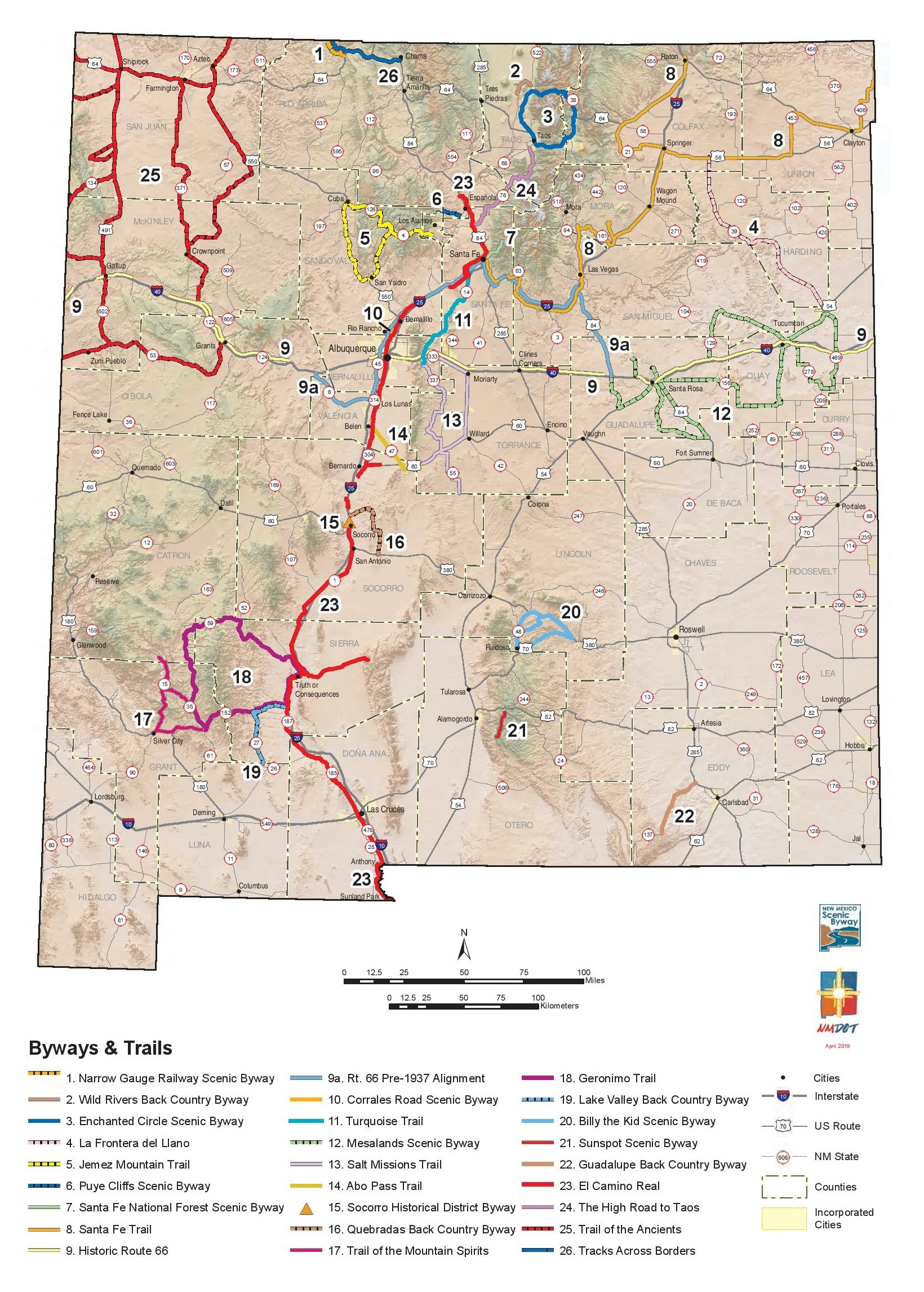 Map of New Mexico Scenic Byways