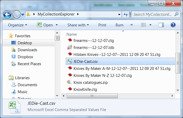 NM Collector Export File Name