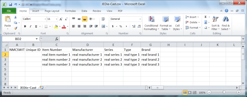 My Collection Explorer data in NM Collector Software Import Format