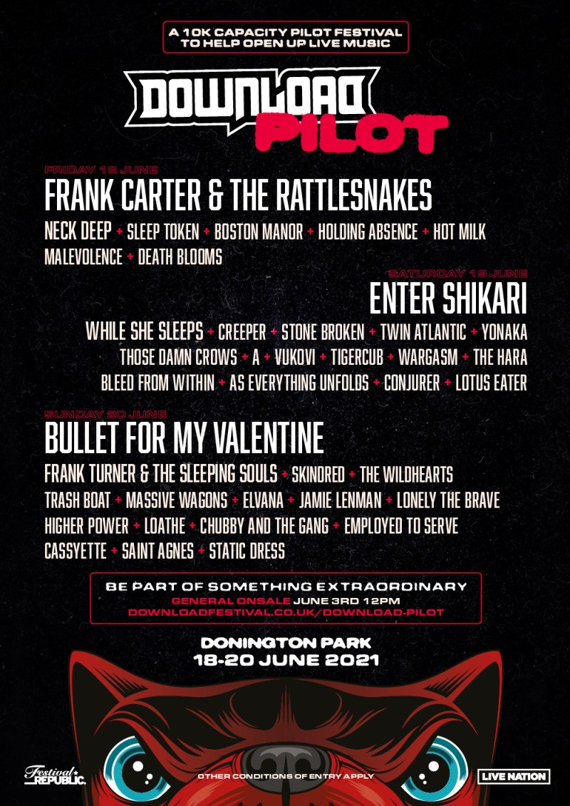 Frank Carter & The Rattlesnakes, Enter Shikari and Bullet For My Valentine  lead Download Pilot 2021 line-up