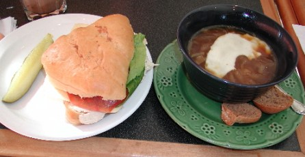 The Chiptle Chicken Sandwich and a bowl of steaming Sherry Onion Soup