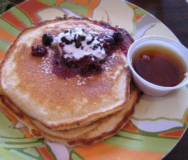 Lemon and sour cream pancakes with blueberries