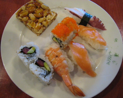 Sushi and peanut brittle