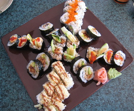 An assortment of palate pleasing maki rolls