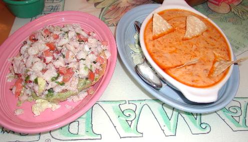 Tostada de ceviche and queso fundido con chorizo.