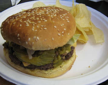 One of the best green chile cheeseburgers in New Mexico!