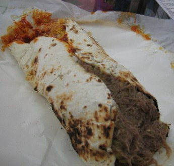 The roast beef burrito with red chile.