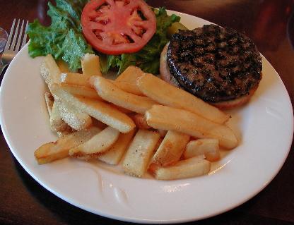 Prepared at medium, the Kobe burger is juicy and delicious.