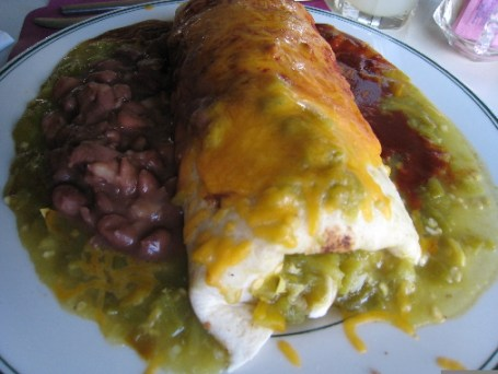 Breakfast burrito served Christmas style
