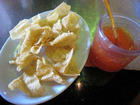Wonton chips and sweet-and-sour sauce