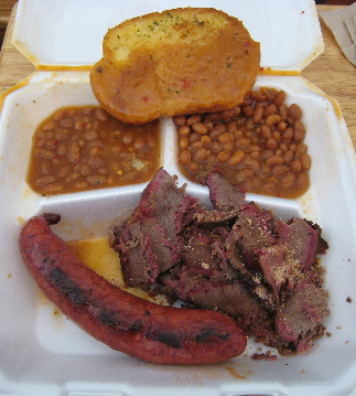 Mad Max's plate with two meats (brisket and hot link)