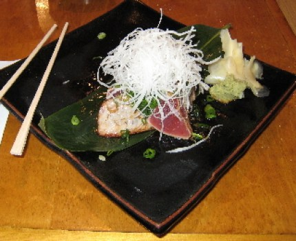 Tuna steak J.C. style served slightly seared.