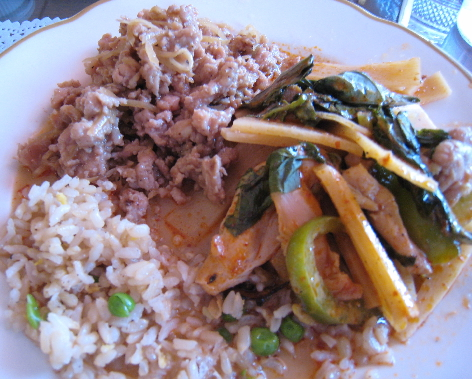 More treasures from the buffet: chicken larb, red curry and rice