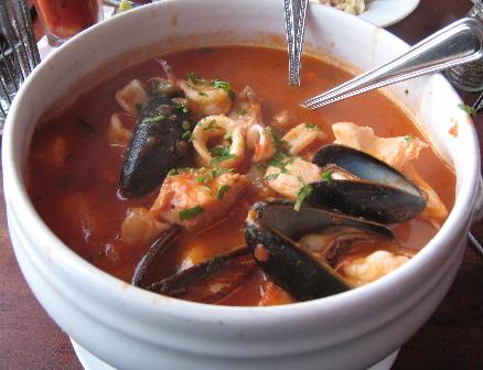 Zuppa di Pesce, a mixed seafood stew