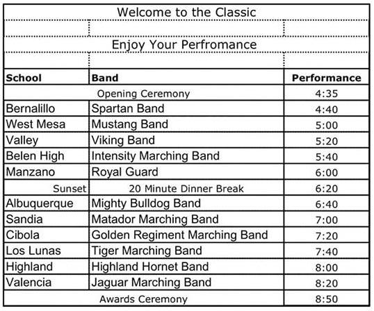 2018 Valencia Classic Performance Schedule