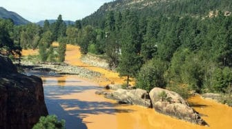 A scene from the Animas River in La Plata County, Colo., after last week's spill.