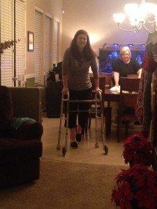 Night of Surgery up on walker