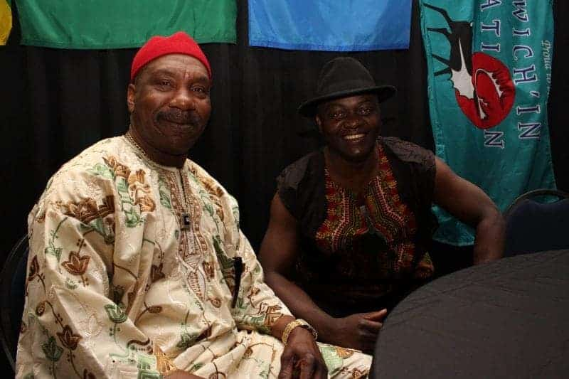 Bonny Ebele and Emmanuel Ndumu, both from Africa, take part in Inuvik's third annual multicultural event, held on Saturday, May 27. - Stewart Burnett/NNSL photo