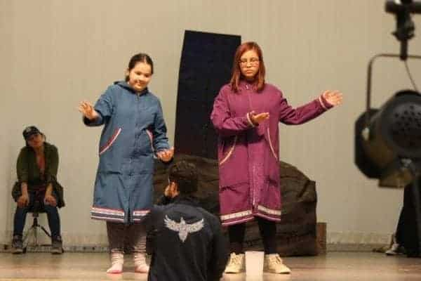 Madison Francis, left, and Sierra McDonald practise their roles in How Tulugaq the Raven Stole the Sun, which students from East Three School will be performing this weekend. Show times are 7 p.m. Friday, May 26, and 2 p.m. and 7 p.m. on Sunday, May 28. Stewart Burnett/NNSL photo