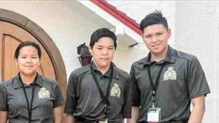 From left, Jillian Kyak of Pond Inlet, Howie Ulayuk of Iglulik and Ben Ishulutak of Pangnirtung were three of four Nunavut youth who trained at the RCMP Depot in Regina in August. Also participating in the training was Andrew Pearce of Iqaluit. Photo courtesy of Howie Ulayuk.