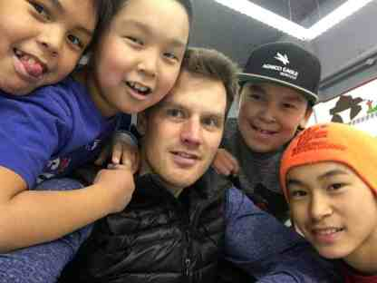 Minor hockey players, from left, Ricky Putumiraqtuq, Brya Kingunkotok, Daniel Kingunkotok and Amos Nakoolak are having a blast hanging-out with head instructor David Clark of Rankin Inlet during the Rankin Rock Season Opener hockey camp in Baker Lake. That camp was followed up last week with another one in Arviat. Photo courtesy David Clark