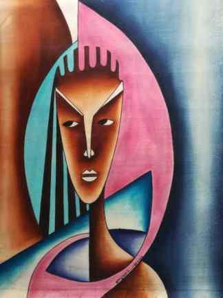 Title Woman Of Tomorrow. Artist Nuwa Wamala Nnyanzi. Medium Batik. Code NWNWEB0202012