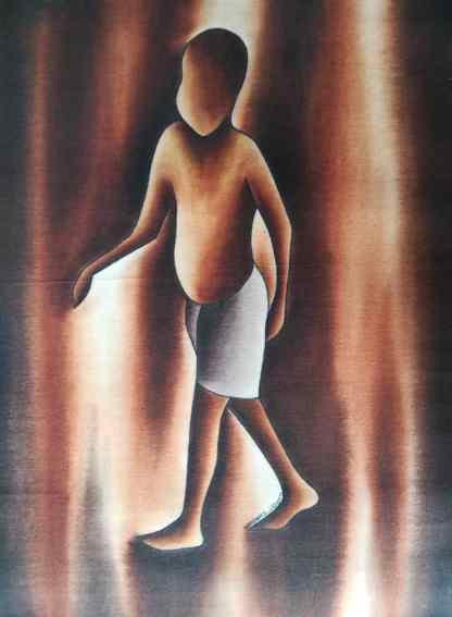 Title Work To Walk. Artist Nuwa Wamala Nnyanzi. Medium Batik. Code NWNWEB0302011