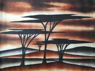 Title Acacia Parade. Artist Nuwa Wamala Nnyanzi. Medium Batik. Code NWN0202012