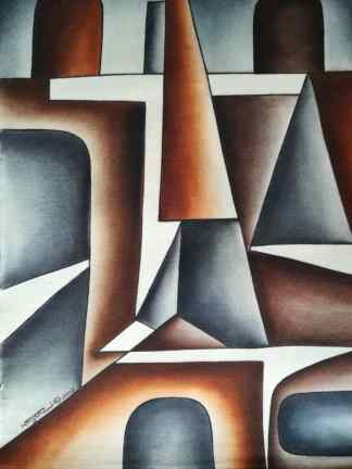 Title Facing The Truth. Artist Nuwa Wamala Nnyanzi. Medium Batik. Code NWNWEB0 462012