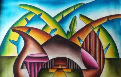 Title Kasubi Decoded. Artist Nuwa Wamala Nnyanzi. Medium Batik. Code NWNWEB0032010