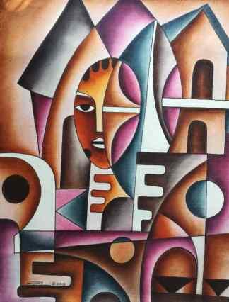 Title Modernity In Harmony With Tradition. Artist Nuwa Wamala Nnyanzi. Medium Batik. Code NWN0502013